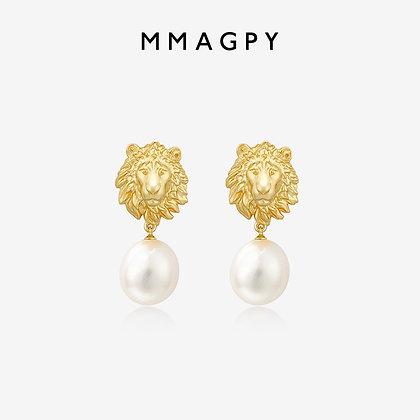 Patronus Irregular Round Pearl Stud Earrings