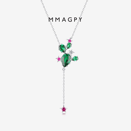 Cactus in the Greenhouse Necklace | 925 Silver Plated 18K Gold
