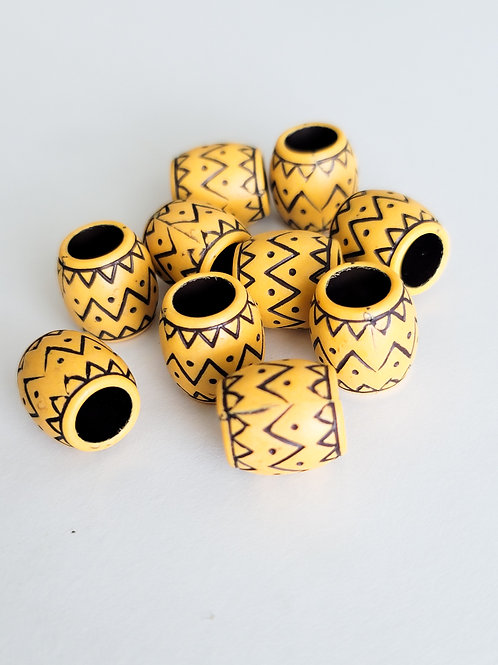 Large Ethnic Wooden Beads for Braids