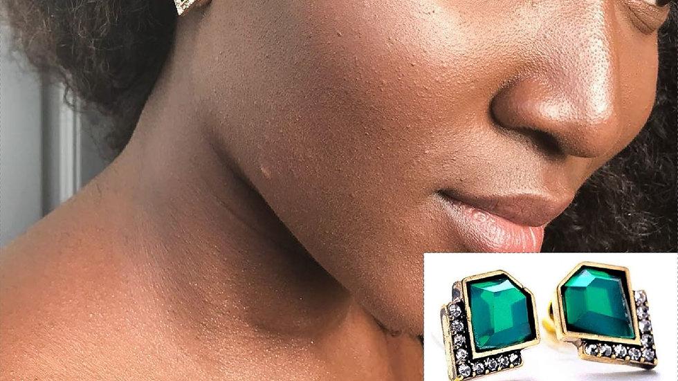 Emerald Crystal Stud Earrings