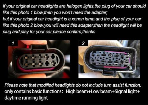 Head lamp Adapter for Volkswagen Golf MK7 Headlights Connector 8 pins up