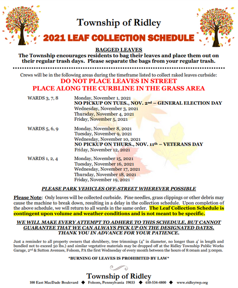 2021 Leaf Collection Schedule