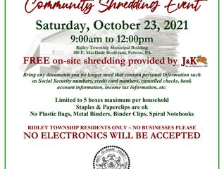 Ridley Township Shredding Event