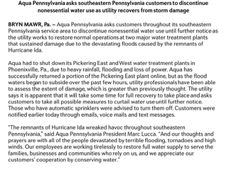 Aqua PA Asks Southeastern PA Customers to Discontinue Nonessential Water Use