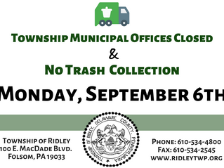 Labor Day Trash Collection and Office Hours