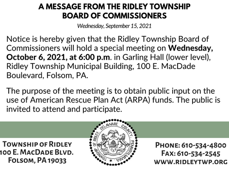 Ridley Township Public Meeting - American Rescue Plan Act (ARPA) Funds