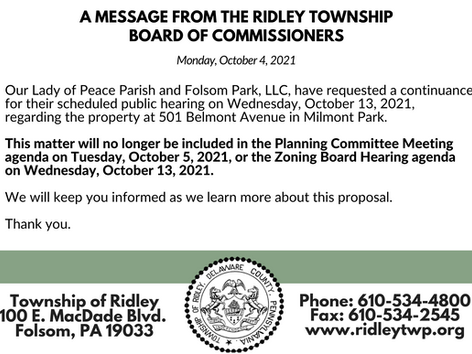 Update On Our Lady of Peace Parish Property