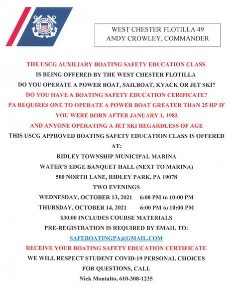 Upcoming Boating Safety Education Classes at Ridley Township Marina