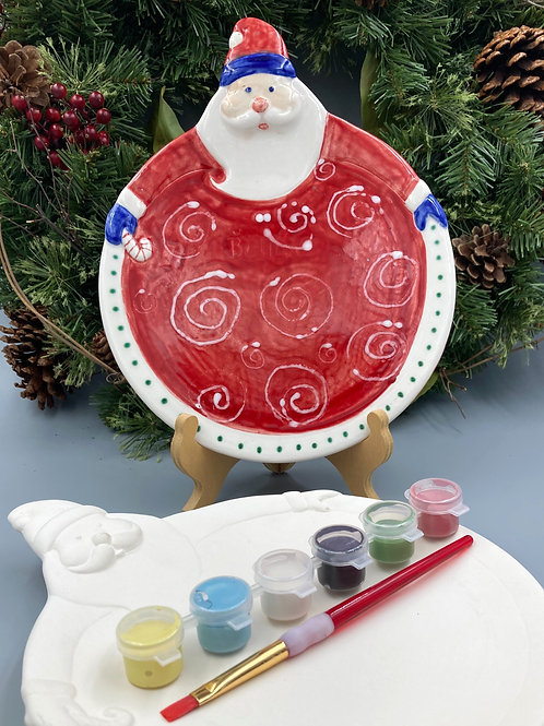 Paint your pottery at home: Santa plate