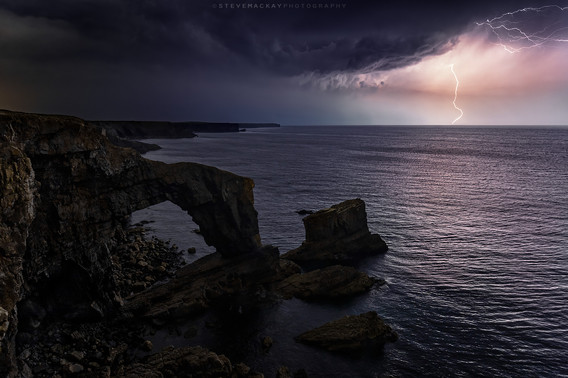 Lightning at the Green Bridge of Wales