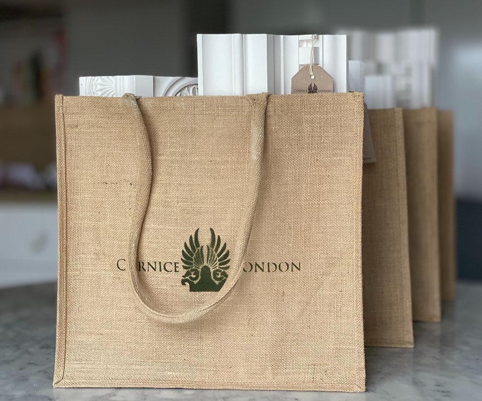 Cornice London hessian Cornice sample shopper
