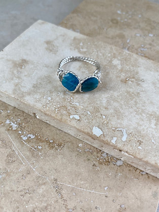 Faceted Blue Apatite Infinity Ring