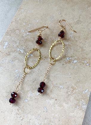 Garnet Oval Drop Earrings