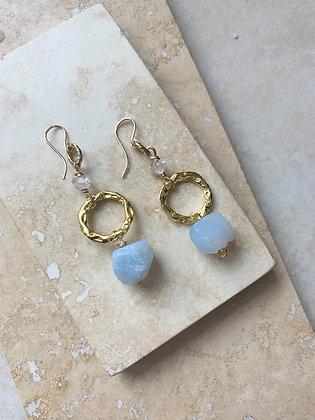 Mexican Blue Opal Earrings