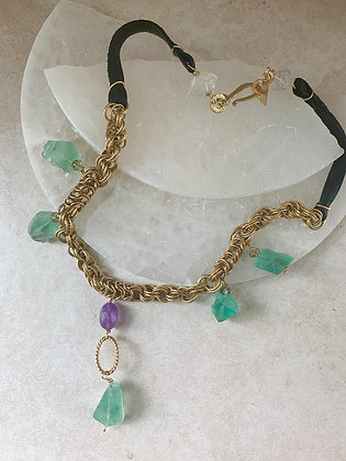 Earth & Sky Necklace in Fluorite and Amethyst