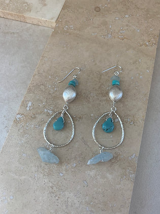 Turquoise and Aquamarine Tears of Joy Earrings