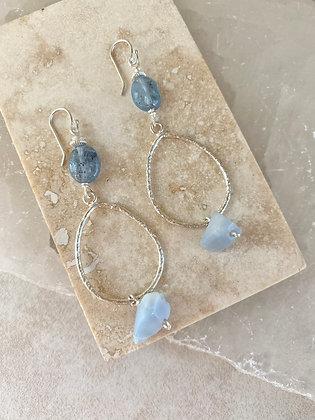 Mexican Blue Opal Teardrop Earrings