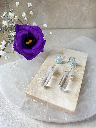 Crystal Quartz and Aquamarine Earrings
