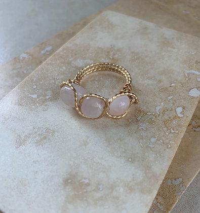 Rose Quartz Triple Infinity Ring