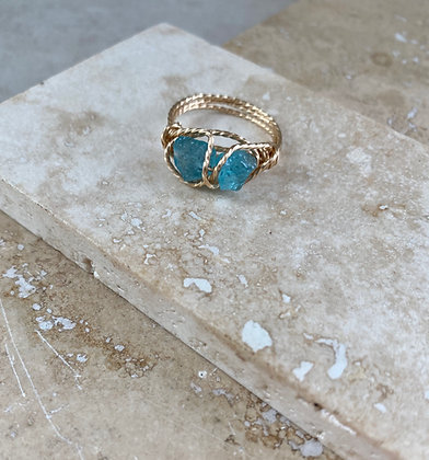 Blue Apatite Infinity Ring
