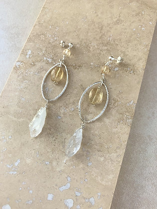 Green Amethyst and Citrine Marquis Earrings