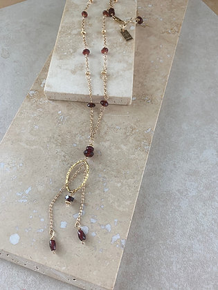 Garnet Two Drop Oval Pendant