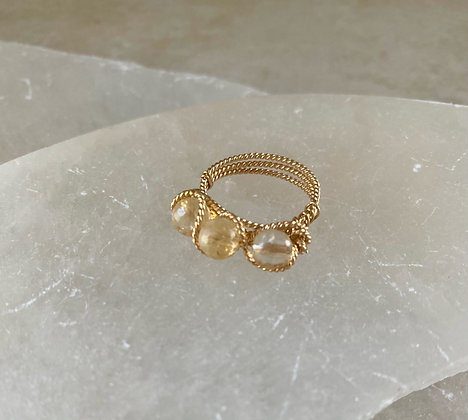 Citrine Triple Infinity Ring