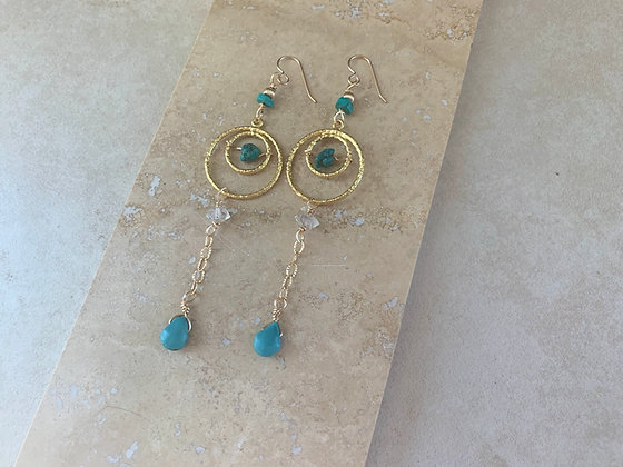 Egyptian Eye Drop Turquoise Earrings