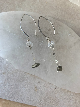 Iron Pyrite Marquis Earrings