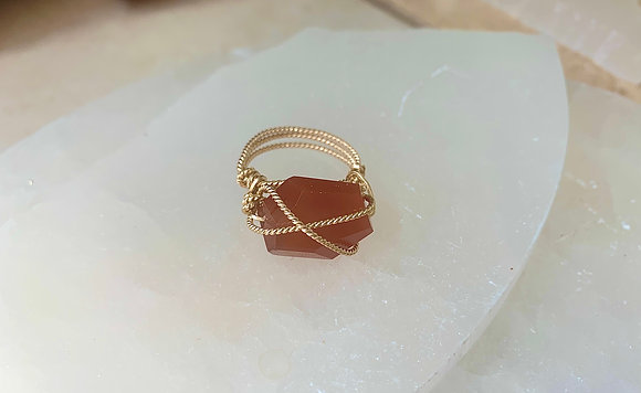 Faceted Fire Agate Boutique Ring