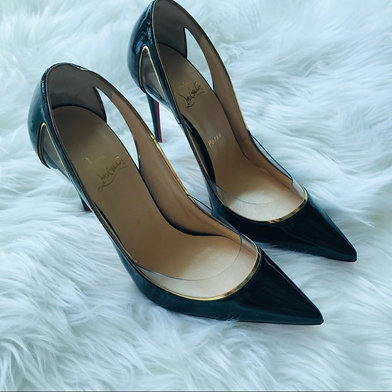 Christian Louboutin Black Cosmo Patent 100mm Pumps