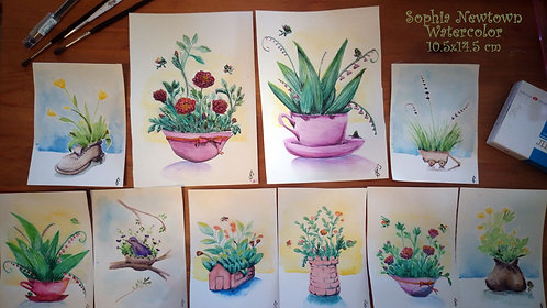 Original water-color miniatures