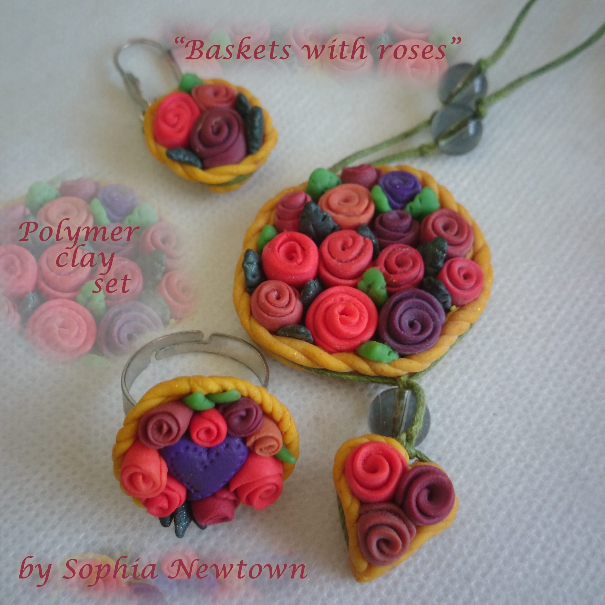 Baskets with roses jewelry set