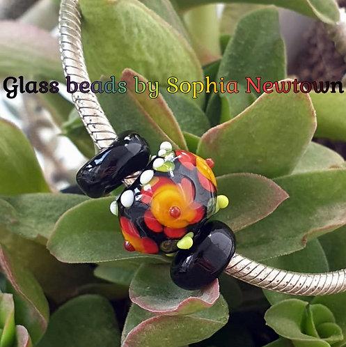 folk-art flowers glass bead