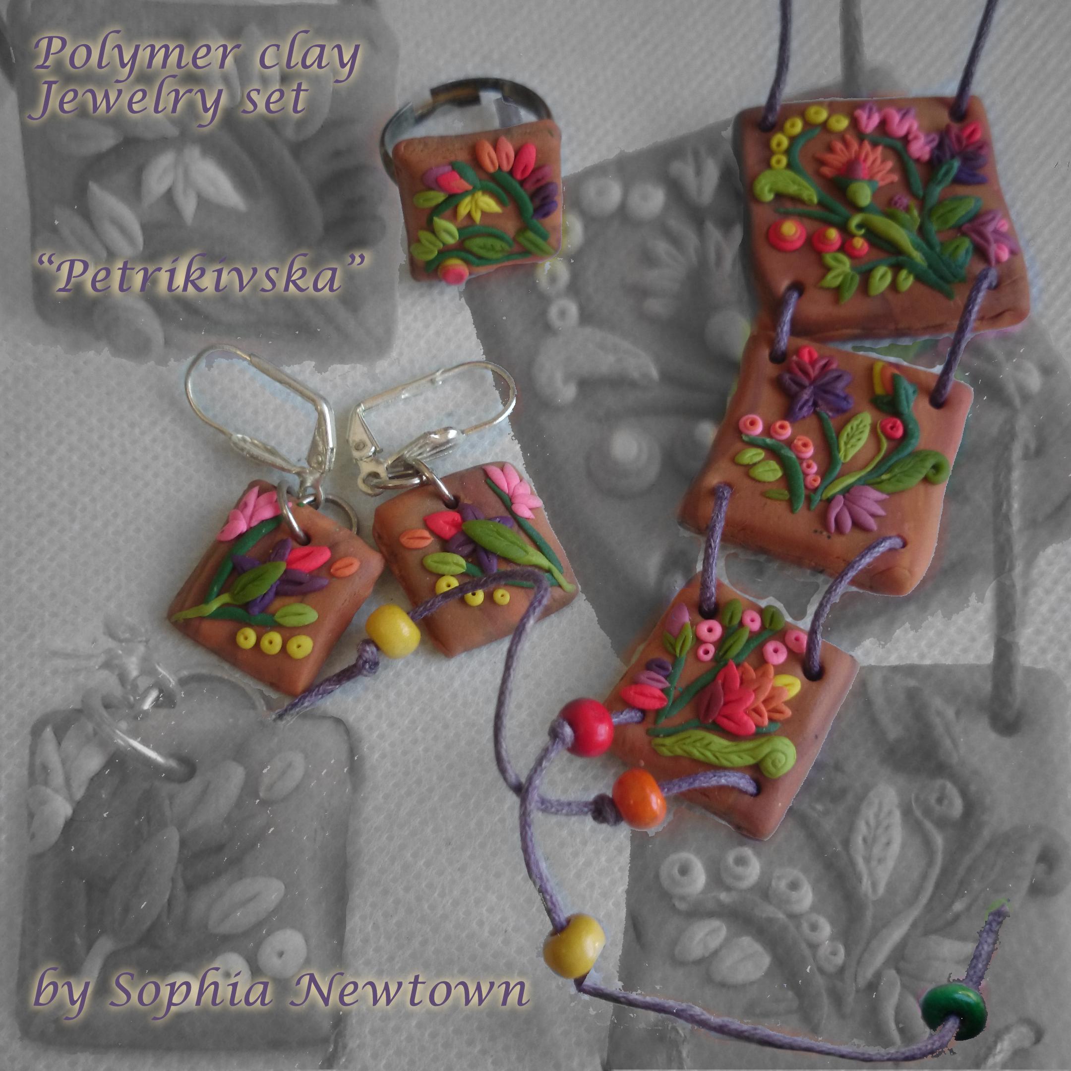 Petrikivska inspired jewelry set