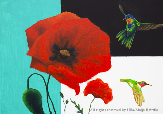 Poppies and birds