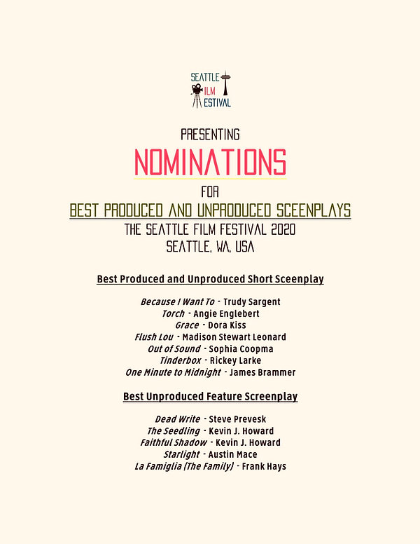 SFF 2020 Best Produced and Unproduced Sc