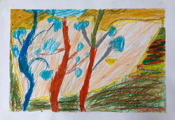 Oil Pastel Trees by Shiv age 9