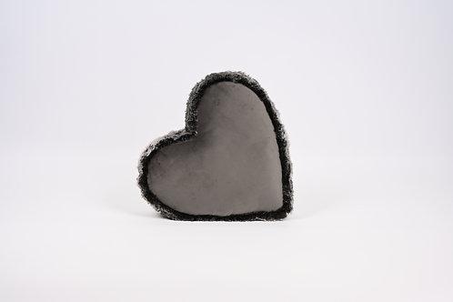 Samt-Herz-Kissen mit Fell-Rand