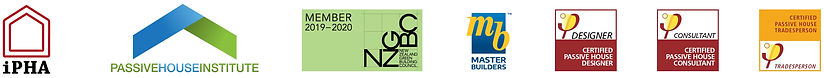 Logos of iPHA, PHINZ, NZGBC, Master Builders and PassivHaus