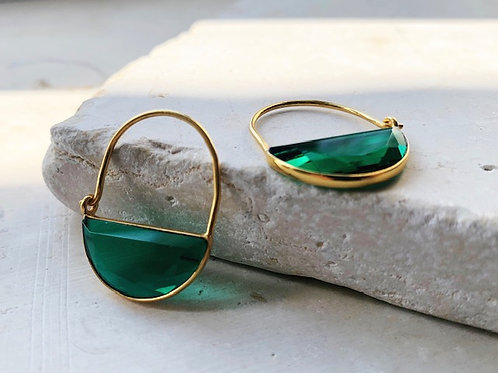 Imogen Earrings Mini Emerald Green