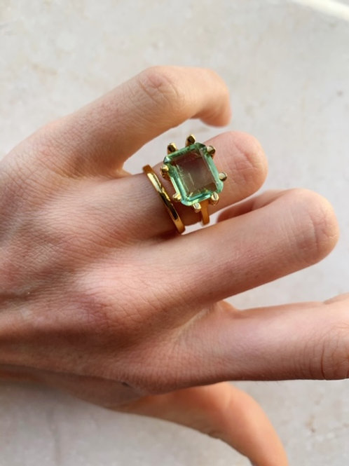 Square Claw Ring Soft Green