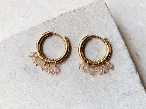 Huggie Earrings Soft Pink Crystal