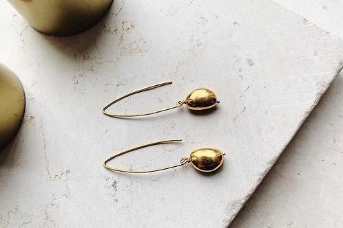Gold Pebble Hook Earrings