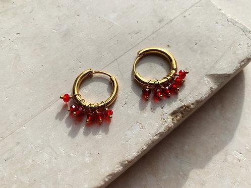 Huggie Earrings Ruby Red