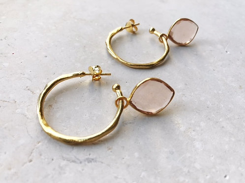 Oval Champagne Gold Hoops