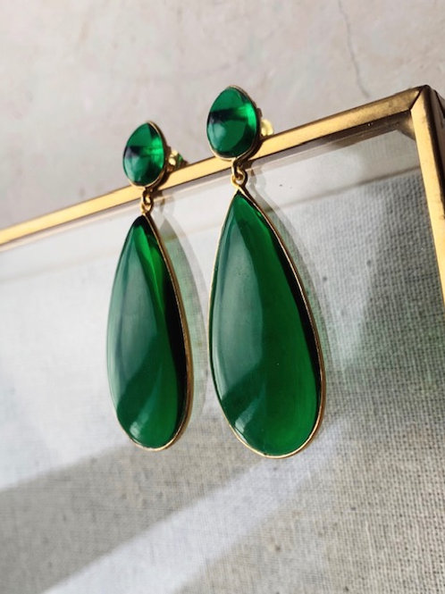 Nancy Earrings Emerald Green