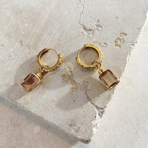Margot Huggie Champagne Earrings