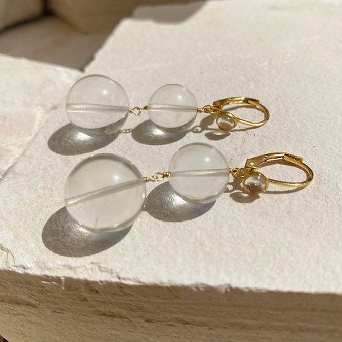 Pernille Pearl Earrings Crystal Clear