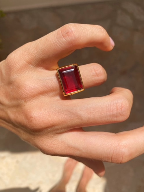 Lenny Ring Ruby Red